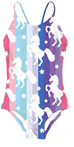 AIDEAONE Kids Unicorn Swimsuits Little Girls One Piece Swimsuit Cute Bathing Suits 5-6T
