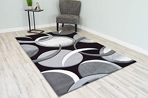 PlanetRugs Premium 3D Effect Hand Carved Thick Modern Contemporary Abstract Area Rug Design 1062 Grey White 7'9''x10'8'' ()