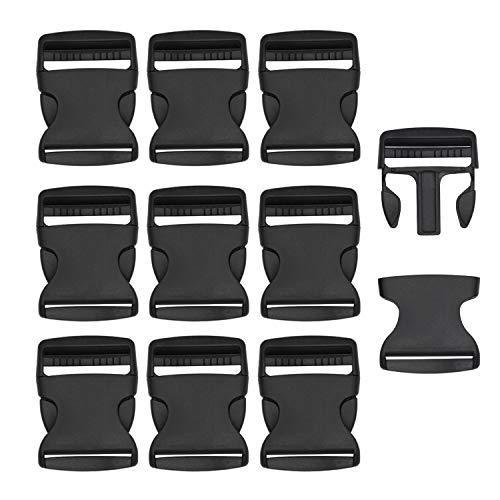 RETON 10 PCS 2 Inch Wide Black Adjustable Buckles Plastic Side Release Buckles