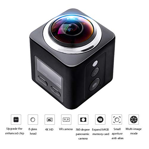 OMZBM 3D 4K VR Action Camera Wireless WiFi Underwater Waterproof Sports 60M Cam 360 Degree Panoramic Camcorder with Mounting Accessories Kits 32GB Memory Card