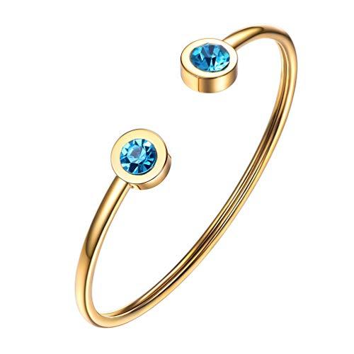 PROSTEEL March Birthstone Aquamarine Cuff Bracelet 18K Gold Plated Stainless Steel Blue Crystal Bangle Girl Women Jewelry Birthday Gift