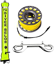 Seafard 5ft Yellow Scuba Diving Open Bottom Surface Marker Buoy (SMB) with 98ft Finger Spool Alloy Dive Reel a