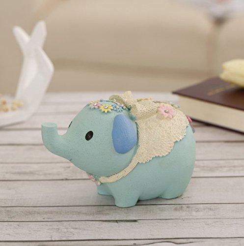 Heylookhere Tirelire Tirelire Résine d'éléphant d'éléphant d'éléphant Wishful Tirelire Simulation Animal Toy AmeubleHommes t (Bleu) d177a6