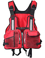 Life Jackets for Adults, Life Jacket for Kayaking, Adjustable Swimming Buoyancy Fishing and Water Sports Life Jacket for Men Women Adult up to 100kg