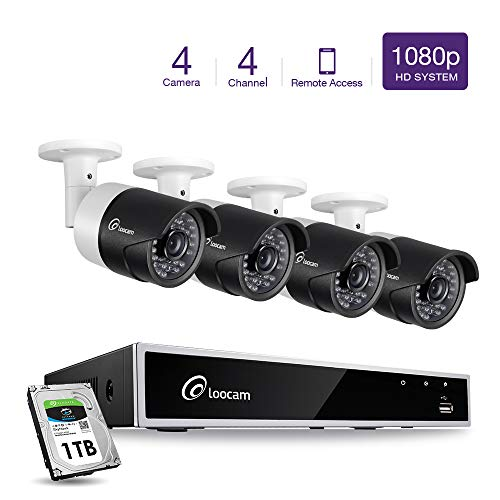 Hdd Motion Detection - 【2019 Update】 Loocam 1080p 4CH HD-TVI Video DVR Surveillance Camera System 4X 2.0 MP(1920x1080) Security Camera Kit 1TB HDD, Motion Detection & Email Alert, Intuitive Android & iOS APP