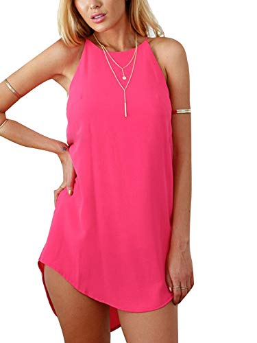 YOINS Mini Dresses for Women Summer Top Solid Color Tunics Sleeveless Casual Beach Sundress Y-Mini Dress-Pink S ()
