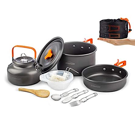 Overmont 1.95 Liter (Pot+ Kettle) Camping Cookware...