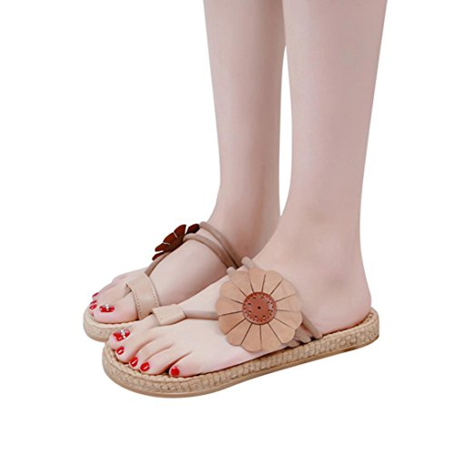Women Summer Beach Flower Flat Shoes Bandages Bohemia Leisure Lady Comfortable Sandals Flip Flops Shoes (5, Khaki) from Sinwo
