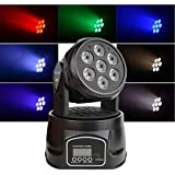 Moving Heads DJ Lighting,100W RGBW Full-Color LED Washing Light with MX512 Rotating Stage Effect Lamp, Flashing Disco Strobe Light for Bars Disco Hall Performance Places Black