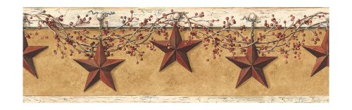 - York Wallcoverings Best of Country HK4663BD Hanging Star Border, Mustard/Cream