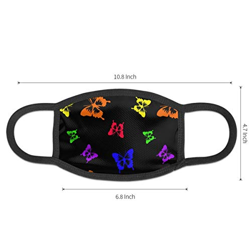 Six-Colored Rainbow Butterflies Pattern Mouth Mask,Anti Dust Face Mask for Girls Boys,Washable and Reusable
