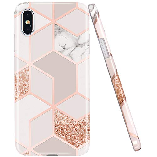 (JAHOLAN Compatible iPhone X Case iPhone Xs Stylish Shiny Rose Gold Marble Design Clear Bumper Glossy TPU Soft Rubber Silicone Cover Phone Case)