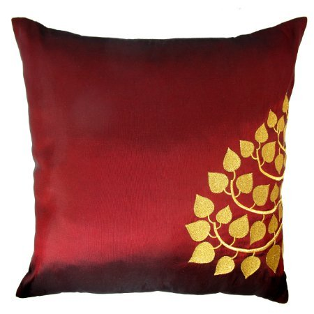 Contemporary Thai Silk Throw Pillow Cover (Cushion Cover), Gold Embroidered Bodhi Tree Leaves Design, 16'' x 16'', Red by Thasaba