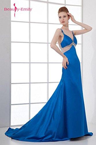 Ausschnitt V Spaghetti Kleider Satin Trägern Emily Beauty Blau Cross back nw8vqxRxIW