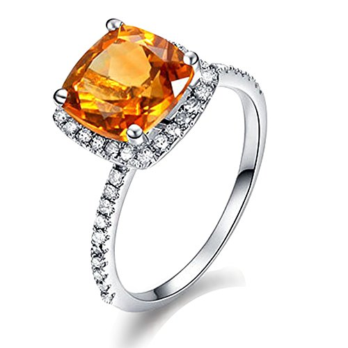 - 1.87ct Natural Citrine Ring in 14K White Gold 22 Points Diamond Wedding Engagement Ring Set for Ladies