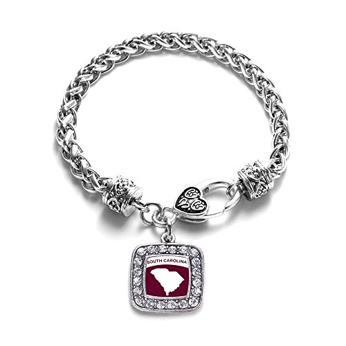 Love South Carolina (SC) State Classic Silver Plated Square Crystal Charm Bracelet - South Carolina Logo Square
