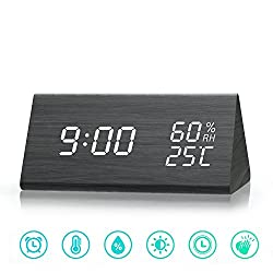 MiToo Wooden Digital Alarm Clock, Temperature and Humidity LED Display Wood Alarm Clock with Acoustic Control Wood Grain Alarm Clock