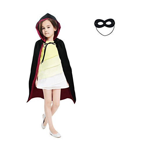 DREAMOWL Superhero Party Dress up Reversible Hooded Cape Mask Set Boys Girls (Red) ()