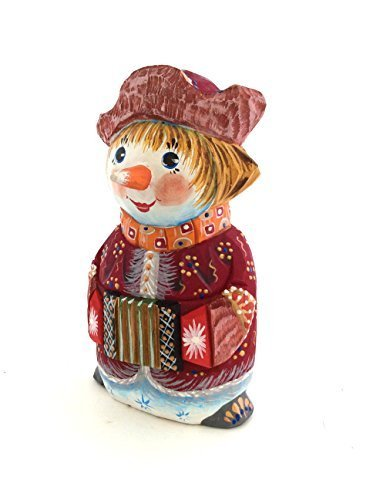 SNOWMAN Wood Hand Carved Hand Painted made in Russia Signed by artist