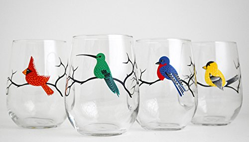 Four Birds Stemless Wine Glasses product image