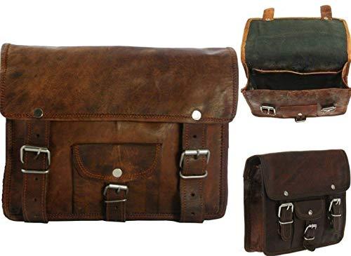 -  Motorcycle Leather Bag Genuine Saddlebag Bike Leather Messenger Satchel | Tool Bag Brown Handlebar Sissy bar Travel Bag, 9 x 11 Inch | With Free Shipping