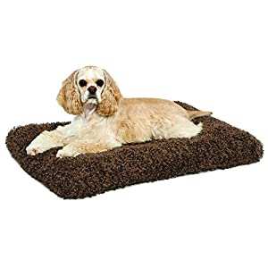 Plush Dog Bed | Coco Chic Dog Bed & Cat Bed | Cocoa 30L x 21W x 2H-Inches for Medium Dog Breeds