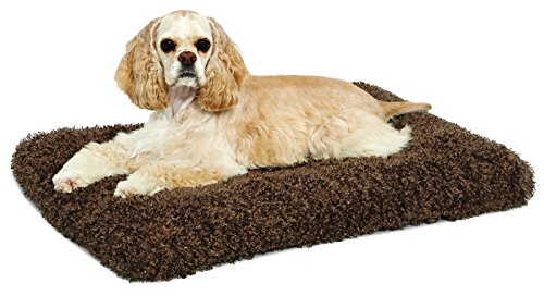 Plush Dog Bed   Coco Chic Dog Bed & Cat Bed   Cocoa 30L x 21W x 2H-Inches for Medium Dog Breeds