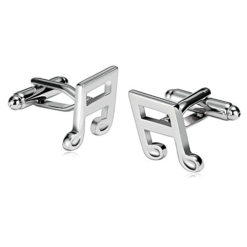 Silver Symbol Cufflinks (For Mens Stainless Steel Cufflinks Classic Music Symbol Silver 1.4X1.9CM Dad Unique Jewelry Box Fancy Elegant Aooaz)