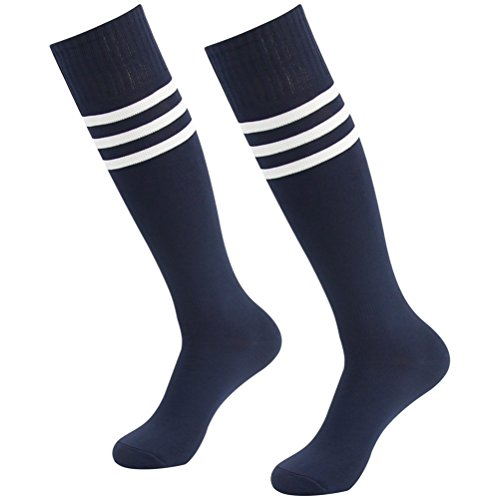 (Volleyball Socks, Diwollsam Womens Mens Sport Team Athletic Soft Over The Calf Crazy Arch Support Breathable Long Tube Socks for Soccer Football Rugby 2 Pairs, Navy Blue with White Stripes)