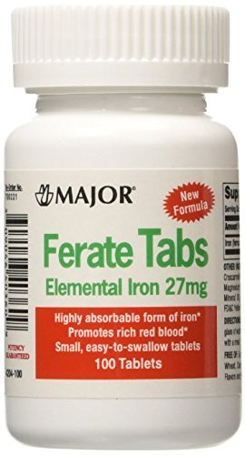 (6 PACK) FERATE® FERROUS GLUCONATE HIGH POTENTCY IRON SUPPLEMENT 100CT *COMPARE TO THE ACTIVE INGREDIENTS FOUND IN FERGON® & SAVE!!!* (Fergon Iron Supplement compare prices)