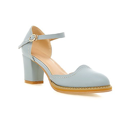 AgooLar Women's PU Solid Buckle Pointed Closed Toe High-Heels Sandals Blue v830D4eePn