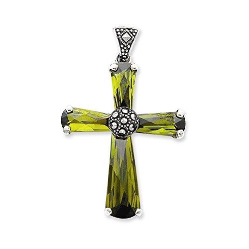 (Sterling Silver Green CZ & Marcasite Cross Pendant)