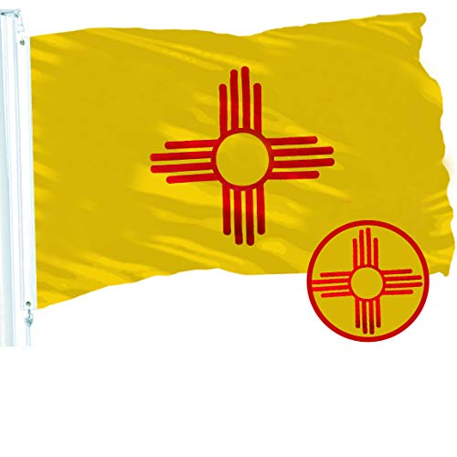 - G128 New Mexico State Flag, 3x5 feet, 210D Embroidered Quality Polyester, Indoor/Outdoor, Vibrant Colors, Brass Grommets