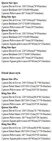 Literie de Ensemble Reine Roi Taille lit Ensemble Tache Jacquard Coton Dentelle Housse de Couette Drap-Housse taie d'oreiller Bedding Set 8 King 4Pcs Fitted Sheet Style