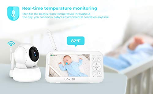 "41OBp15LzBL - Baby Monitor, UOKIER 5"" Video Baby Monitor With Camera And Audio, 1080P HD Baby Camera, 5200 MAh Battery, 1000ft Range, 2-Way Audio, Auto Night Vision, Temperature Monitoring, Lullabies"