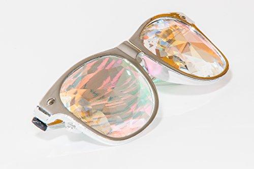 Festival Junkie RaveBans (Chrome) PLUR-Vision Rainbow Diamond Kaleidoscope Glasses
