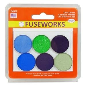 FUSEWORKS 90 Coe Cool Colors 1 Fusible Rounds Circles Diamond Tech International