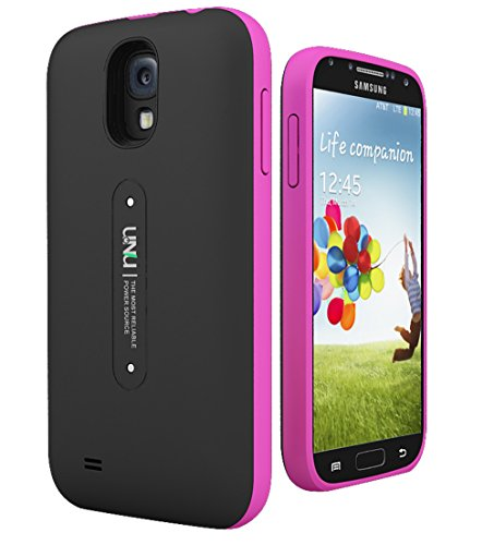 uNu Aero Series Samsung Galaxy S4 Battery Case with Wireless Charging Technology [Black/Magenta] - External Slim Protective Battery Case Cover for Samsung Galaxy S4 Compatibles with All Models Samsung Galaxy S4 i9500