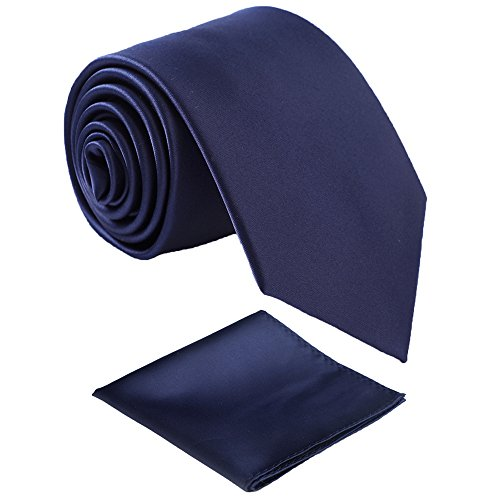 Fortunatever Classical Men's Solid Necktie With Gift Box+Pocket Square ()