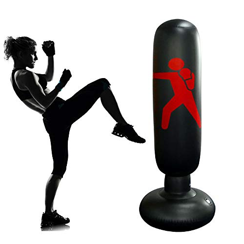Kids Inflatable Punching Bag with Stand, 63.3inch Kickboxing Punching Bags for Child, Immediate Bounce-Back ninja Boxing…