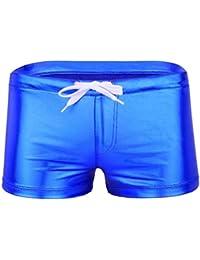 94ded3193e Men's Sexy Metallic Wetlook Drawstring Boxer Shorts Swim Trunks Underwear