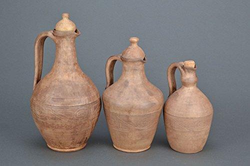 Clay Handmade Ceramic Wine Jug Kitchen Decor Ideas - Great Gift Idea By MadeHeart ()