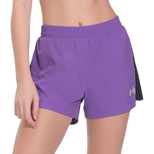 Archaeus Women Running Shorts Active Workout Jogging Sports Shorts Back Pocket, Purple - XL