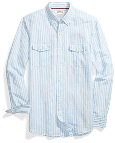 Goodthreads Men's Slim-Fit Long-Sleeve Linen and Cotton Blend Shirt, Light Blue/Multi Stripe, -