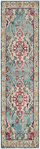 "Safavieh Monaco Collection MNC243J Boho Chic Medallion Distressed Runner, 2' 2"" x 8', Light Blue/Fuchsia - Safavieh's Monaco Vintage Boho Medallion rug with 650+ customer reviews Vintage distressed design with a stunning oversized medallion adds a fashion-forward flair to décor Stylishly versatile, this rug works in the bedroom, living room, playroom, foyer, or dining room - runner-rugs, entryway-furniture-decor, entryway-laundry-room - 41OBqNLc6xL -"