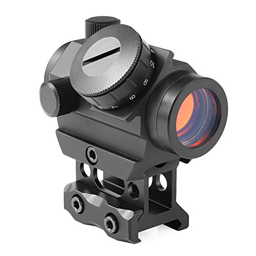 (Feyachi Red Dot Sight, Micro Red Dot Gun Sight 4 MOA Rifle Scope with 1 inch Riser Block Mount, 1x22mm, Black)