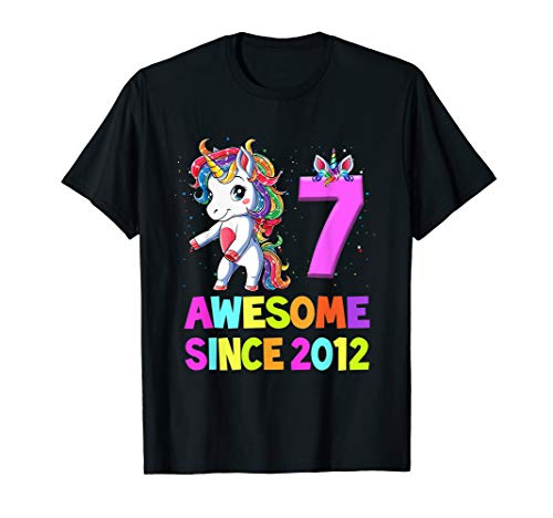 7 Years Old 7th Birthday Unicorn Floss Shirt Girl Gift Party T-Shirt