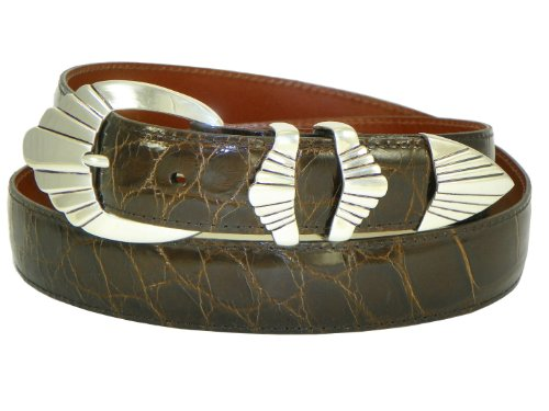 Charles Underwood Men's Genuine Alligator Belt with Sterling Silver Sedona 4-Piece Buckle Set - Chocolate, Size 38