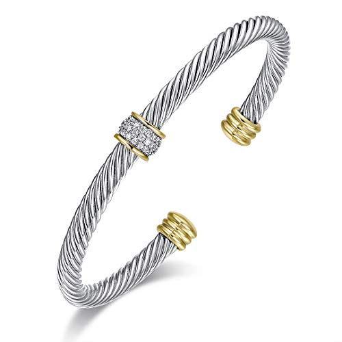 Ofashion Bracelet Designer Brand Inspired Cable Bracelet with Zircons Cuff Bracelets for Women