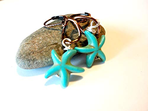 Turquoise Starfish Dangle Earring, Starfish Jewelry, Turquoise Jewelry, Ocean Earring, Beach Jewelry, Lever Back Copper -